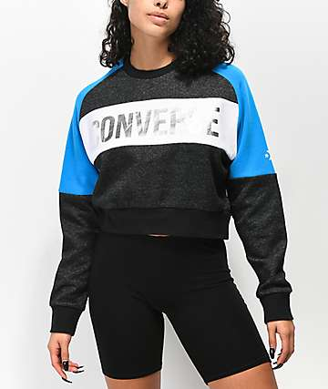 Converse Metallic Colorblock Crop Crew Neck Sweatshirt