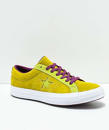 Converse One Star Apple Green & Purple Suede Skate Shoes