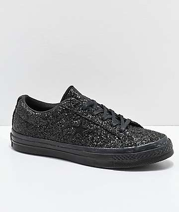 050bc927cefa9d Converse One Star Black Sparkle Skate Shoes