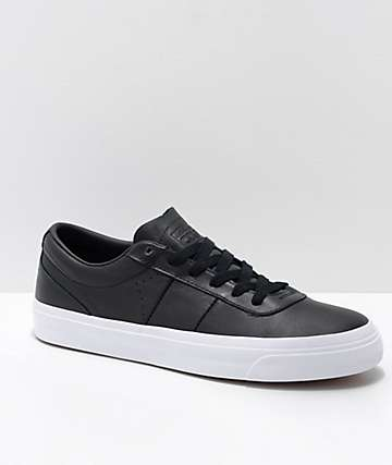 Converse One Star CC Black & White Leather Skate Shoes