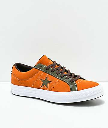 Converse One Star Mandarin Orange & Field Green Suede Skate Shoes