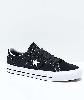 0b454bd30f6b Converse One Star Pro Black   White Suede Skate Shoes