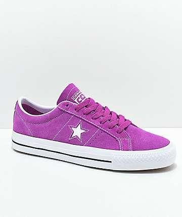 4ca2e0c43e70 Converse One Star Pro Icon Violet   White Skate Shoes