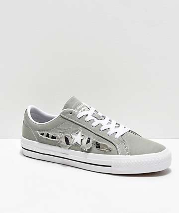 Converse One Star Pro Rip-Through Zebra Jade & White Skate Shoes