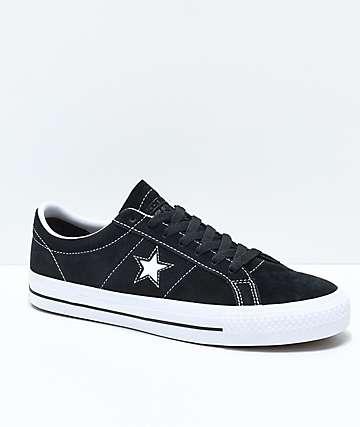 Converse One Star Pro zapatos de skate de ante negro y blanco