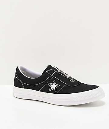 Converse One Star Slip-On Black & White Skate Shoes