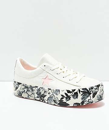 Converse One Star zapatos blancos con plataforma floral