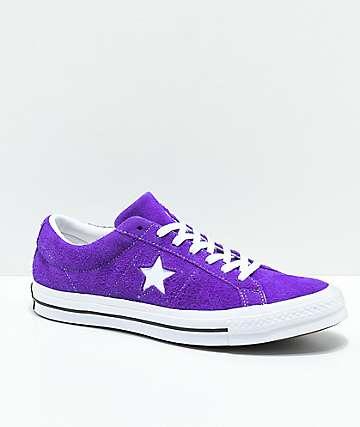 Converse One Star zapatos de skate de ante en morado y blanco