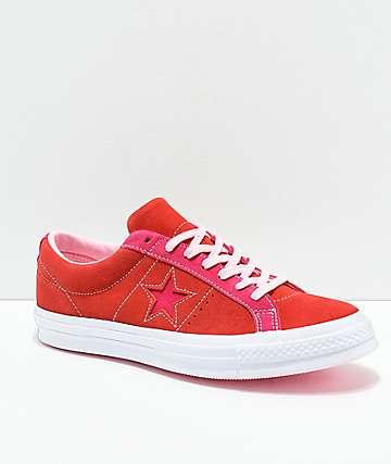 Converse One Star zapatos de skate de ante rojo y rosa