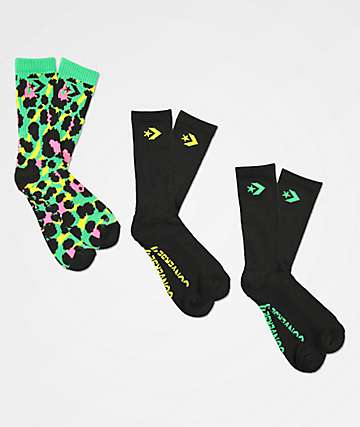 Converse Palm Leopard Acid Green & Black 3 Pack Crew Socks