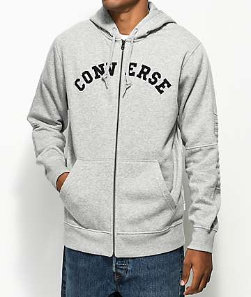 Converse Quilted Panel Grey Hoodie