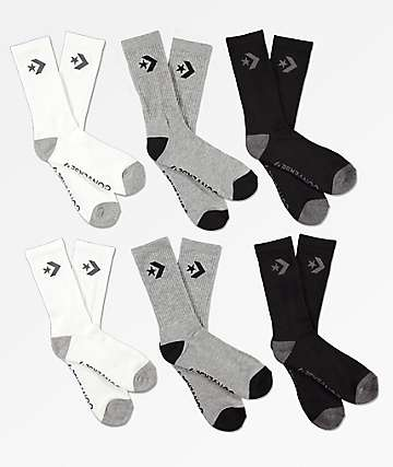 Converse Six Pack Black, Grey & White Crew Socks