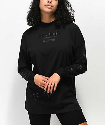 Converse Stencil Black Mock Neck Long Sleeve T-Shirt