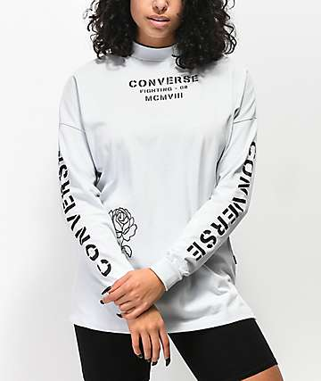 Converse Stencil Pale Blue Mock Neck Long Sleeve T-Shirt