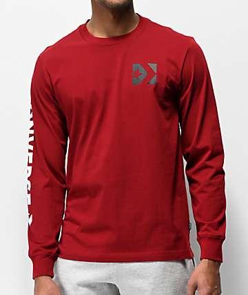 Converse Wordmark Brick Alley Burgundy Long Sleeve T-Shirt