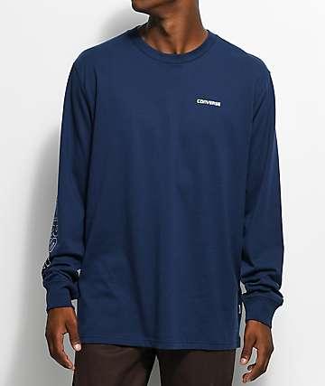 Converse Wordmark camiseta de manga larga en azul marino