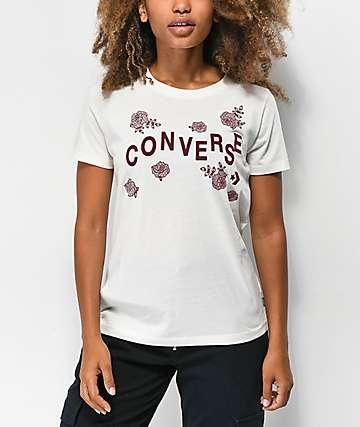 Converse camiseta blanca floral