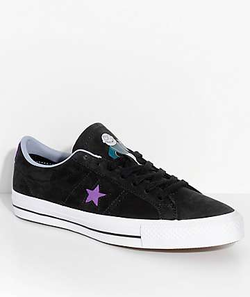 Converse x Dinosaur Jr. One Star Pro Black & Purple Skate Shoes