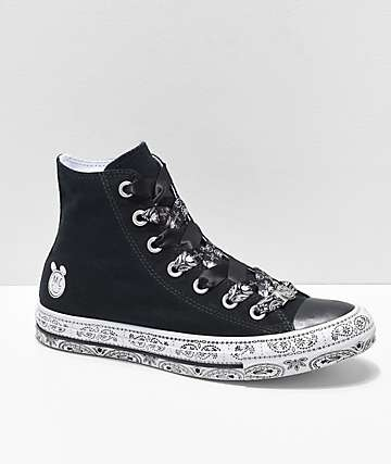 Converse x Miley Cyrus Black & White Bandana High Top Shoes