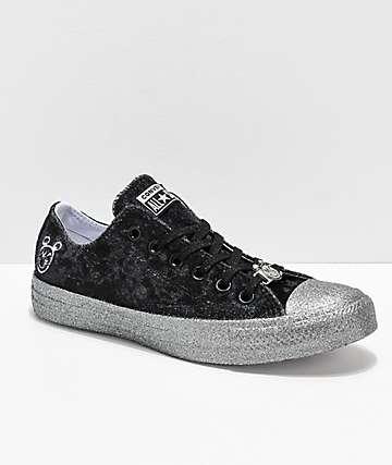 Converse x Miley Cyrus CTAS Black Velvet Glitter Shoes