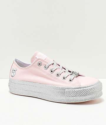 Converse x Miley Cyrus Lift zapatos rosas brillantes