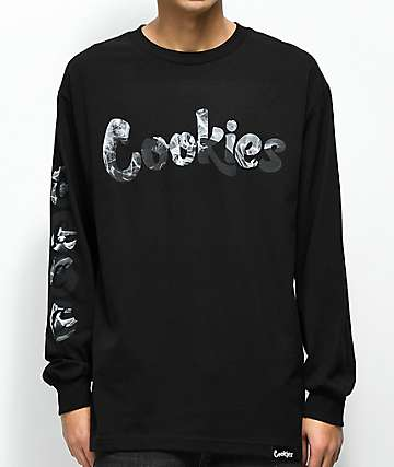 Cookies Clouds Black Long Sleeve T-Shirt