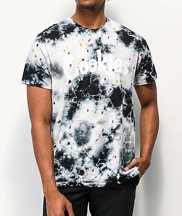 Cookies Storm Drip Black & White Tie Dye T-Shirt