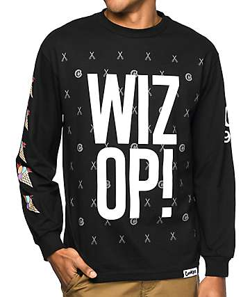 Cookies X Wizop Stacked camiseta negra de manga larga