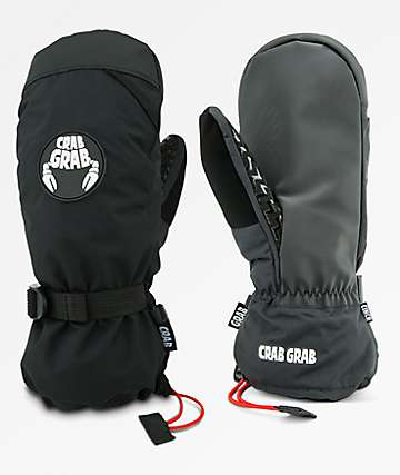 Crab Grab Cinch Black Snowboard Mittens