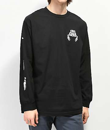 Crab Grab Claw Sleeve Black Long Sleeve T-Shirt