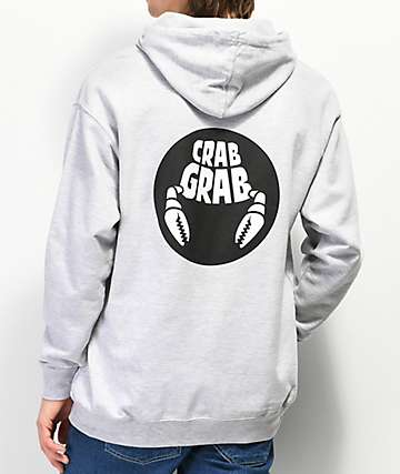 Crab Grab Double Circle Grey Hoodie