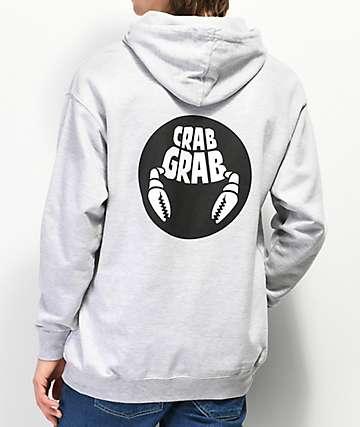 Crab Grab Double Circle Grey Hoodie