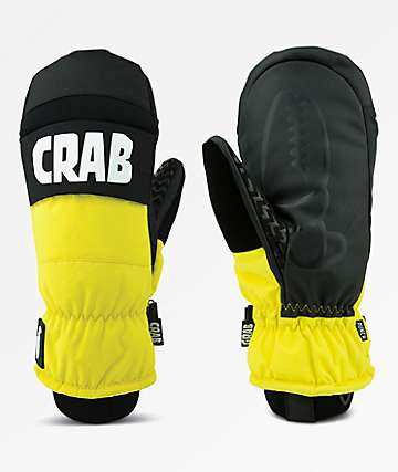 Crab Grab Punch Black & Yellow Snowboard Mittens