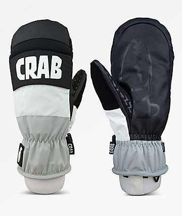Crab Grab Punch Grey & White Snowboard Mittens