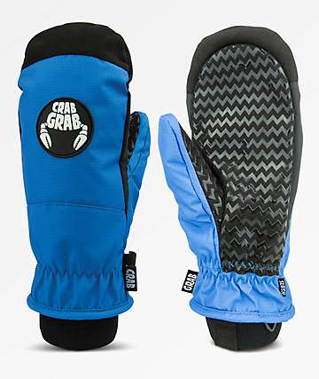 Crab Grab Slush Blue Snowboard Mittens