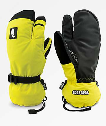 Crab Grab Snurf Trigger Yellow Snowboard Mittens