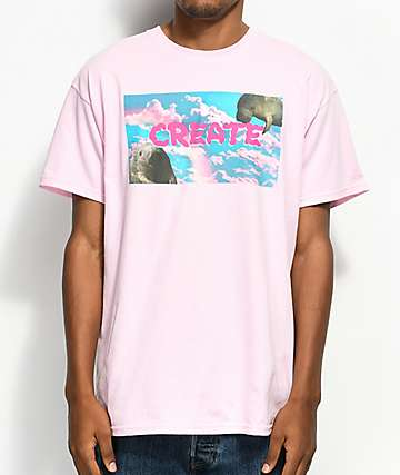 Create Rainbow Manatee Pink T-Shirt
