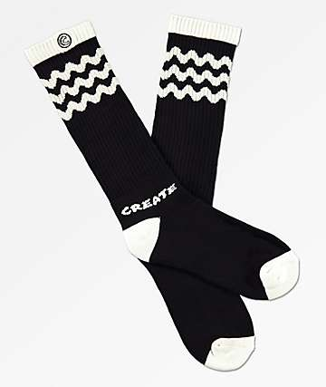 Create Wobble Black Crew Socks