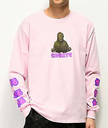 Create Zilla camiseta rosa de manga larga