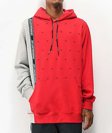 Crooks& Castles Patched Up Red & Grey Hoodie