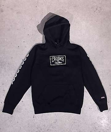 44948ff5160 Crooks   Castles Core Logo Chain Black Hoodie