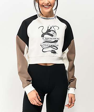 Crooks & Castles Lucky Dragon White Crop Crew Neck Sweatshirt