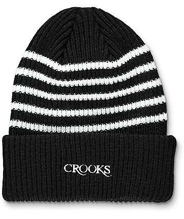 Crooks & Castles Serif Stripe Black Beanie