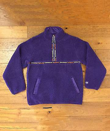 Crooks & Castles Sherpa Mountain Purple Quarter Zip Fleece Sweatshirt