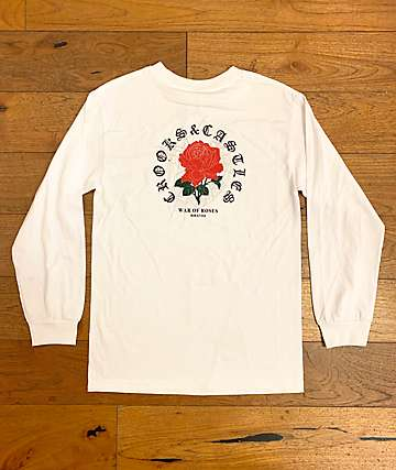 Crooks & Castles War Of Roses White Long Sleeve T-Shirt