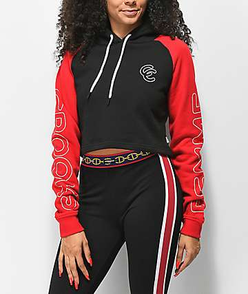 Crooks & Castles Double C Black & Red Cropped Hoodie