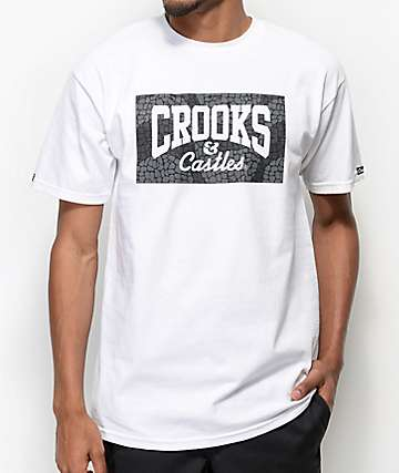 Crooks & Castles Jungle Core Logo White & Black T-Shirt