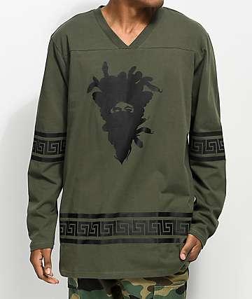 Crooks & Castles Medusa Greca Olive Hockey Jersey Shirt