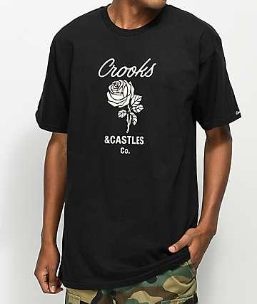 Crooks & Castles Rose Black & Cream T-Shirt