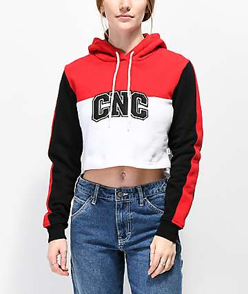 Crooks & Castles Sport Colorblocked Crop Hoodie